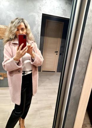 Кардиган пальто альпака, размер 44-52,  пудра