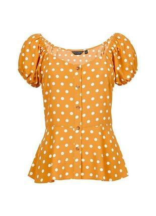 Блуза на пуговицах с объёмными рукавами баской в горох принт горошек