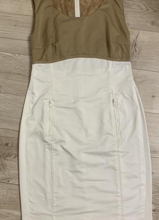 Красивое белое прямое платье футляр по фигуре,с молнией размер s