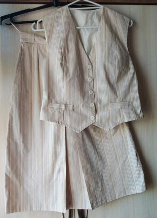 Костюм, костюм с юбкой, миди юбка, жилет, костюм летний