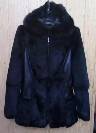 Красивый полушубок из 100% меха+кожа/шуба/куртка/полушубок/пуховик/пальто