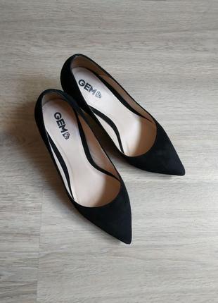 Туфли лодочки черные замшевые gem