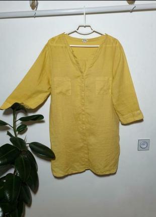 Солнечная льняная рубашка удлинённая лен в стиле pacini рубаха сорочка