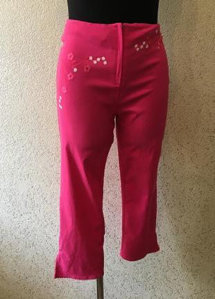 Легкие чудесные стрейчевые капри/ярко розовые женские бриджи