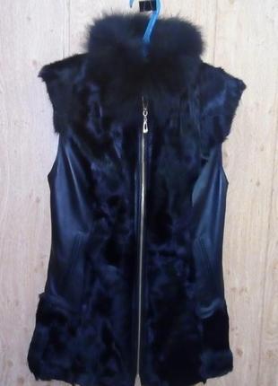 Жилетка из меха кролика + песец + натуральная кожа/шуба/полушубок/пальто/куртка/жилетка