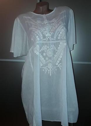 Натуральная  удлиненная блузка/италия/красивая вышивка!