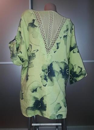 Льняная удлиненная блузка/туника /батал/италия/кружево!