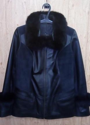 Кожаная куртка с мехом песца/куртка/полушубок/пуховик/пальто/шуба/песец