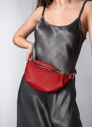 Женская кожаная сумка на пояс, поясная сумка бананка кожаная красная