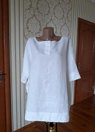Стильная льняная блузка интиресного фасона оверсайз