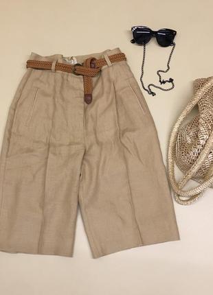 Льняные шорты, бермуды карамельного цвета3 фото