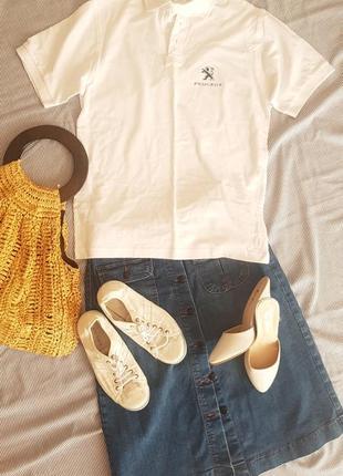Поло футболка белоснежная хлопок