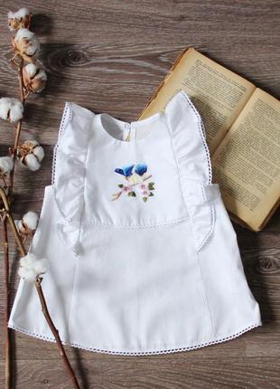 Тренд сезона 2020 блузка с птицами, детская туника на лето, белый топ для малышки