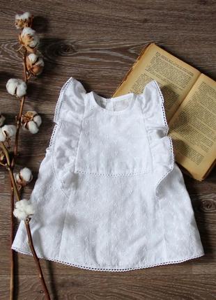 Летняя блуза с рюшками на малышку, батистовый белый топ, детская туника хлопок