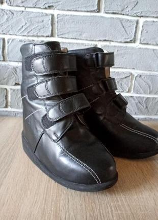 Кожаные ботинки  на скрытой платформе