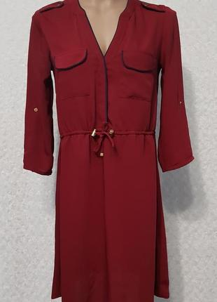Женское вишневое платье h&m  р44-46