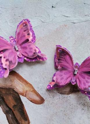 Заколки с шифоновыми бабочками