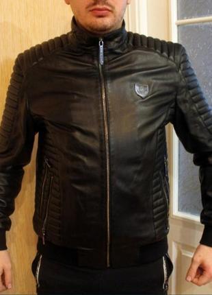 Мужская кожаная куртка бомбер philipp plein натуральная кожа черная