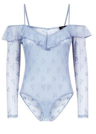 Сексуальный кружевной боди блузка вырезы прозрачный с рюшами оборки на плечи