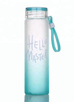 Спортивная стеклянная бутылка для воды hello master 450 мл фитнес бутылка