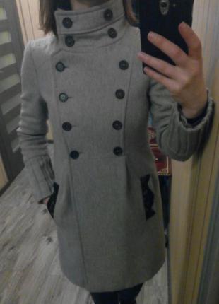 Пальто классическое серое zara