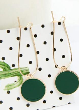 Стильные серьги с зелеными кругами / большая распродажа