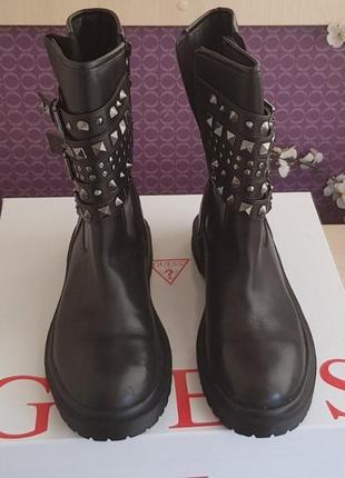 Новые ботинки guess кожа с модными заклёпками сапоги ботильоны оригинал
