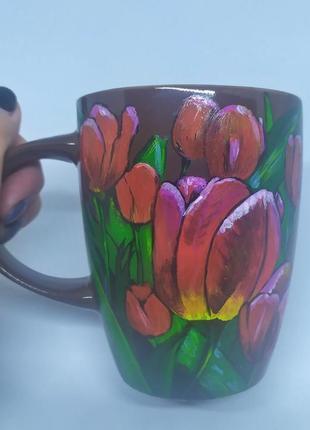Чашка ручной работы, кружка с цветами, чашка с тюльпанами