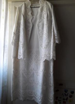 Комплект белый (платье+пиджак) дизайнерская  работа
