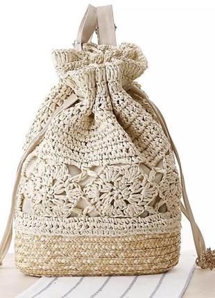 Летний соломенный рюкзак