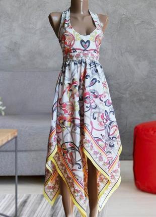 Только сегодня ! красивое платье сарафан асиметричное, модный принт h&m h&m