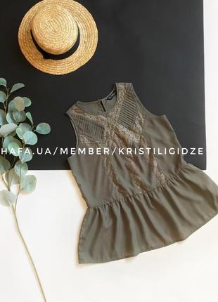 Распродажа! ❤️ шикарная блуза без рукавов под шифон  с баской. р. xs