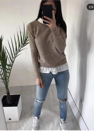 Комбінований светрик, крутой свитер, свитшот