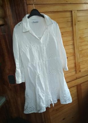 Натуральна літня сукня сорочка льон віскоза вишивка прошва zara