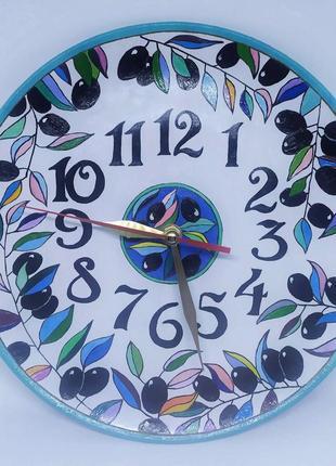 Часы настенные ручной работы в стиле прованс, круглые керамические часы
