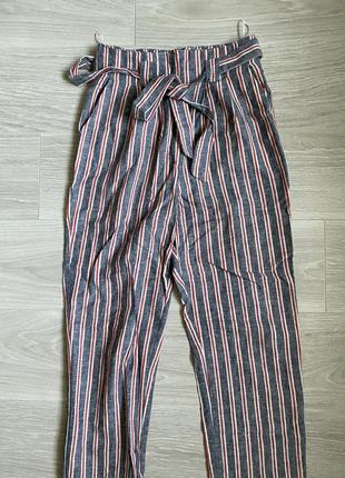 Льняные штаны брюки с поясом topshop