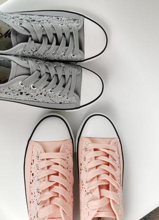 Кеды с ажурными вставками розовые серые