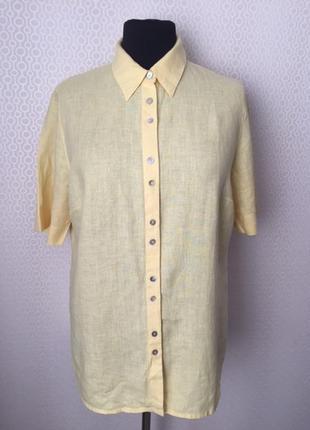 Льняная рубашка цвета сливочного масла от ulla popken, размер нем 46/48, укр 54/56/58