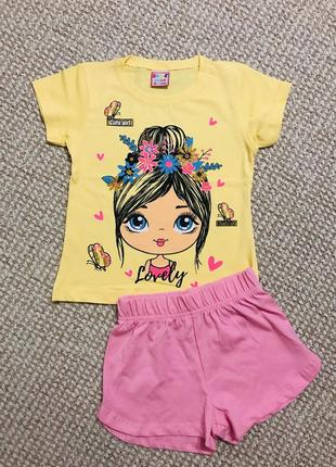 Супер комплект: футболка и шорты на девочку 2-3 года