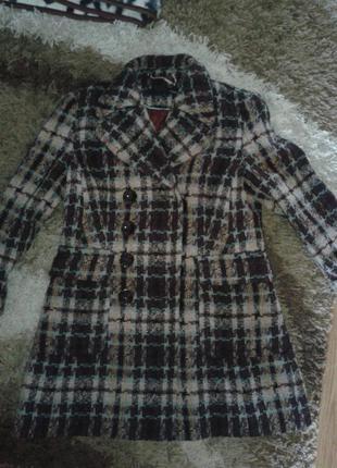 Шанель стиль-пальто кардиган 48р лка в клетку. шерсть 50%