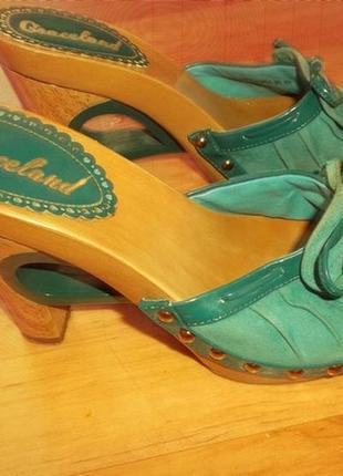 Сабо  платформа стильный каблук бирюза  шлепки босоножки р.39 - graceland