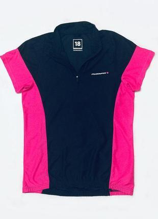 Женская черная розовая спортивная футболка велофутболка