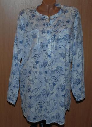 Блуза принтованая бренда marks & spencer /100% хлопок /удлиненная /