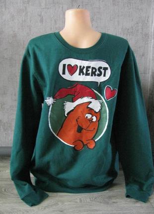 Кофта новогодняя l-xl реглан, свитшот свитер новогодний