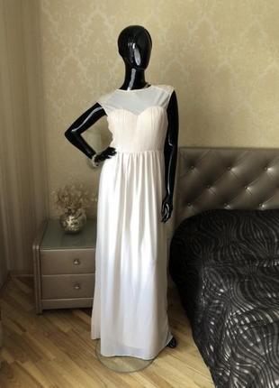 Платье в пол, макси, пудра, нарядное, размер м