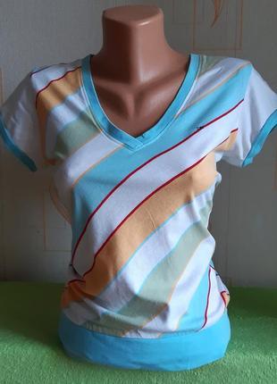 Модная футболка в разноцветную полоску tommy hilfiger denim made in india