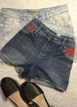Шорты джинсовые с вышивкой в наличии new look 10 и 12 размеры