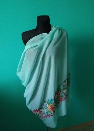 Парео накидка платок с вышивкой бирюзовый