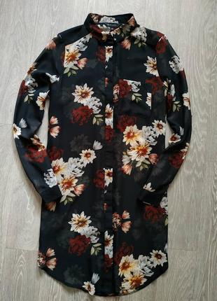 Удлиненная шифоновая рубашка в цветы черная