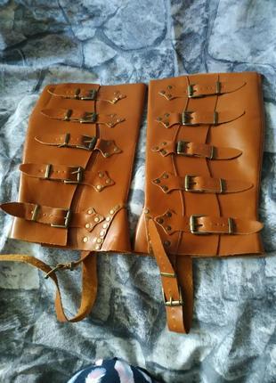 Краги кожаные гамаши стимпанк унисекс
